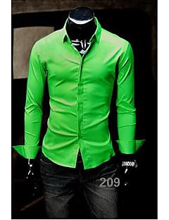billige Herremote og klær-Bomull Skjorte Herre - Ensfarget, Moderne Stil