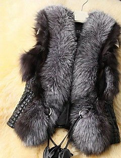 Women's Daily Elegant & Luxurious Winter Spring/Fall Fur Coat,Vintage V-neck Sleeveless Regular N/A Modern Style