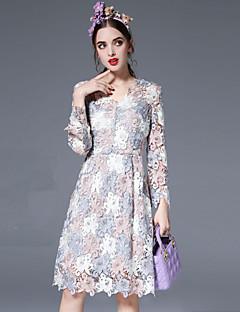 Kadın Günlük/Sade Vintage / Sofistike Salaş Elbise Nakışlı,Uzun Kollu V Yaka Diz-boyu Pembe Pamuklu / Polyester / Naylon Sonbahar / Kış