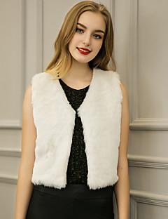 Χαμηλού Κόστους Γούνινο παλτό-Γυναικεία Κομψό & Μοντέρνο-Συμπαγές Χρώμα,Επίσημο Στυλ