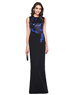 cheap Special Occasion Dresses-Sheath / Column High Neck Floor Length Sequined Matte Satin Prom / Formal Evening Dress with Sequin Appliques by TS Couture®