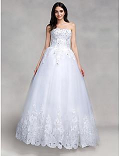 billiga Balbrudklänningar-Balklänning Hjärtformad urringning Golvlång Tyll Bröllopsklänningar tillverkade med Paljett / Applikationsbroderi av LAN TING BRIDE® / Glittra och gläns