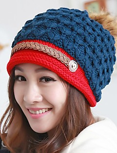 Women Casual Autumn Winter Multilayer Color Stitching Knitting Wool Warm Protect Ears Beanie Hat