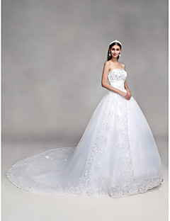 cheap Wedding Dresses-Ball Gown Sweetheart Neckline Cathedral Train Tulle Over Lace Made-To-Measure Wedding Dresses with Bowknot / Beading / Sequin by LAN TING