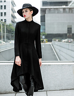MASKED QUEEN Women's Casual/Daily Simple CoatSolid Stand Long Sleeve Fall / Winter Black Polyester Thick