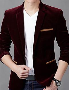 メンズ パーティー カジュアル/普段着 秋 冬 ブレザー,ヴィンテージ ストリートファッション シャツカラー ソリッド レギュラー コットン 長袖