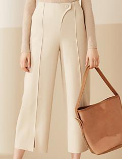 Široké nohavice Kalhoty chinos Dámské Kalhoty-Jednobarevné Běžné/Denní Jednoduchý High Rise Knoflíky Vlna Mikroelastické Pružina / léto
