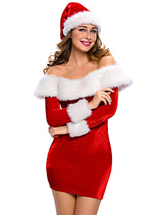 Santa Suits Mrs.Claus Cosplay Costumes Female Christmas Festival / Holiday Halloween Costumes Solid
