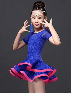 Latein-Tanz Kleider Kinder Vorstellung Viskose Spitzen Spitze 2 Stück Kurze Ärmel Normal Kleid Unterhose