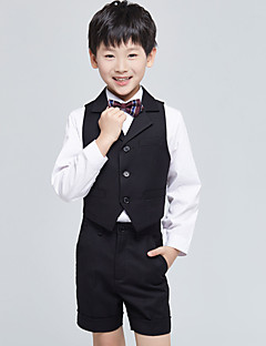 バーガンディー ブラック オーシャンブルー コットン リングベアラースーツ - 4 含まれています パンツ ベスト 蝶ネクタイ シャツ