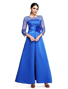 Linia -A Bijuterie Lungime Gleznă Dantelă Satin Bal Seară Formală Rochie cu Mărgele Flori Ruching de TS Couture®
