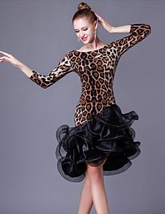 ラテンダンス ワンピース 女性用 演出 クリスタルコットン オーガンザ フリル スプライシング 1個 3/4スリーブ ハイウエスト ドレス