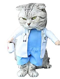 billiga Hundkläder-Katt Hund Dräkter/Kostymer Jumpsuits Hundkläder Figur Vit Cotton Terylen Kostym För husdjur Herr Dam Gulligt Cosplay