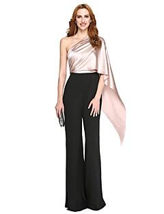 billige Mønstrede og ensfargede kjoler-Todelt Enskuldret Gulvlang Polyester / Charmeuse Formell kveld / Ferie Kjole med Drapering av TS Couture®