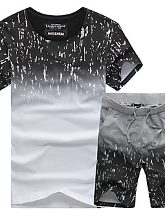 cheap Fitness Clothing-Men's Running T-Shirt with Shorts Short Sleeves Breathable Soft Comfortable Sweat-wicking Tracksuit Shorts T-shirt Clothing Suits for