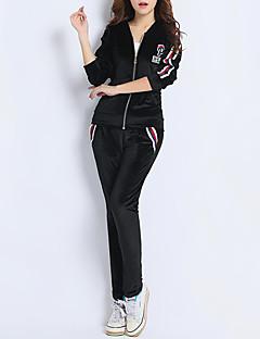 abordables -Chemisier Pantalon Costumes Femme,Couleur Pleine Sports simple Automne Manches longues Micro-élastique