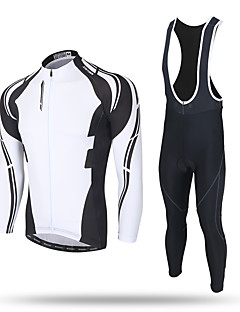 XINTOWN Cycling Jersey with Bib Tights Men's Long Sleeves Bike Pants / Trousers Tracksuit Zip Top Fleece Jacket Jersey Bib Tights Top