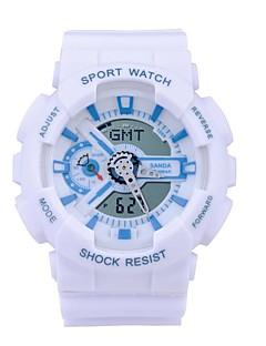 billige Børneure-SANDA Sportsur Smartur Armbåndsur Digital Japansk Quartz 30 m Vandafvisende Kronograf LED Silikone Bånd Analog-digital Afslappet Mode Sort / Hvid / Blåt - Guld / Sort Sort / Blå Guld / Hvid / Stopur