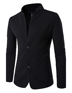 Men's Going out Simple Casual Spring Fall Blazer,Solid Long Sleeve Regular Patchwork