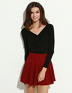 お買い得  レディーススカート-女性用 Aライン スカート - ソリッド, ラッフル / ミニ