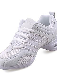 hesapli -Kadın's Dans Sneakerları Sentetik Spor Ayakkabı Küba Topuk Kişiselletirilmemiş Dans Ayakkabıları Beyaz / Siyah ve Altın / İç Mekan