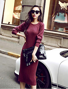 Women's Casual/Daily Simple Sweater Dress,Print Round Neck Midi Long Sleeves Acrylic Spring Fall Mid Rise Micro-elastic Medium
