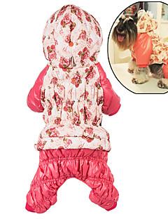 billiga Hundkläder-Hund Huvtröjor Jumpsuits Hundkläder Blommig/Botanisk Ros Rosa Cotton Kostym För husdjur Dam Gulligt Ledigt/vardag Håller värmen