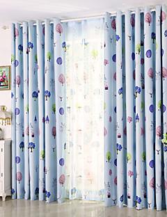 billige Mørkleggingsgardiner-Propp Topp Et panel Window Treatment Moderne, Trykk Blad Barnerom Poly/ Bomull Blanding Materiale Blackout Gardiner Hjem Dekor