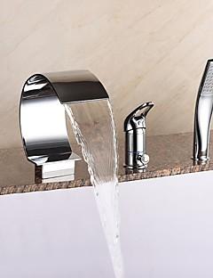billige Sidesray-Badekarskran - Moderne Krom Romersk kar Keramisk Ventil Bath Shower Mixer Taps / Messing / Enkelt håndtak tre hull
