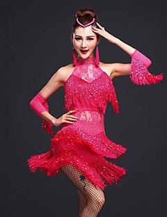 baratos Roupas de Dança Latina-Dança Latina Vestidos Mulheres Treino Raiom / Elastano Miçangas / Renda / Mocassim Sem Manga Natural Vestido / Braceletes