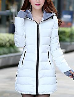 Damen Daunen Mantel,Lang Einfach Lässig/Alltäglich Solide-Polyester Polypropylen Langarm Mit Kapuze
