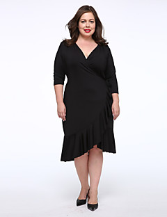 Women's Daily Plus Size Casual Little Black Dress,Solid V Neck Knee-length Others Fall Mid Rise Micro-elastic Medium