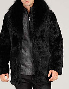 Men's Party / Evening Coats Winter Fall/Autumn Fur Coat,Solid Color Peaked Lapel Long Sleeve Regular Faux Fur