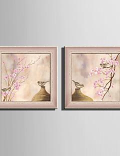 hesapli Hayvanlı Çerçeveli Resimler-Çiçek/Botanik / Zwierzęcy Çerçeveli Tuval / Çerçeve Seti Duvar Sanatı,PVC Malzeme Kırmızı Keçesiz Frame ile For Ev dekorasyonuçerçeve