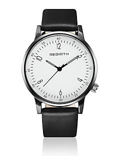 billige Læder-REBIRTH Herre Quartz Armbåndsur / Læder Bånd Afslappet Minimalistisk Mode Sort Hvid