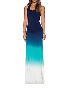 cheap Women's Dresses-Women's Sophisticated Sheath Dress - Solid Colored Blue High Rise Maxi U Neck