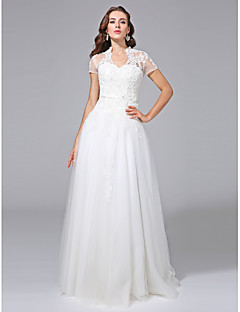 cheap Plus Size Wedding Dresses-A-Line V Neck Floor Length Lace Over Tulle Custom Wedding Dresses with Beading Appliques Sash / Ribbon by LAN TING BRIDE®