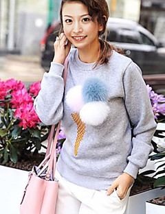 Women's Going out / Casual/Daily Cute Regular PulloverSolid Round Neck Long Sleeve Cotton Fall / Winter
