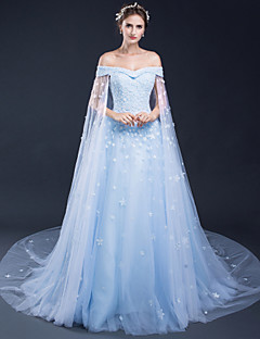 A-Line Bateau Neck Court Train Tulle Formal Evening Dress with Appliques by Shiqiushi