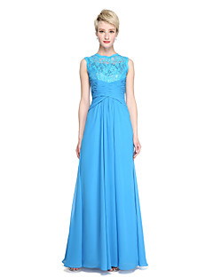 Sheath / Column Jewel Neck Floor Length Chiffon Lace Bridesmaid Dress with Side Draping Criss Cross Pleats by LAN TING BRIDE®