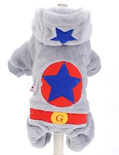 犬 パーカー ジャンプスーツ 犬用ウェア キュート ファッション 保温 防風 キャラクター グレー