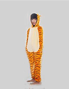 Kigurumi Pyjamas Tiger Kokopuku Yöpuvut Asu Flanelli Fleece Oranssi Cosplay varten Lapset Animal Sleepwear Sarjakuva Halloween Festivaali