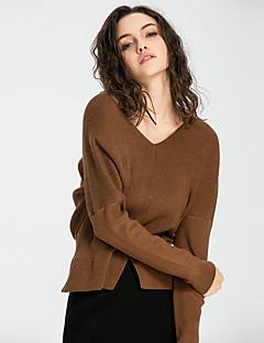 Damen Solide Sexy Street Schick Anspruchsvoll Ausgehen Lässig/Alltäglich Urlaub T-shirt,V-Ausschnitt Alle Saisons Winter LangarmSchwarz