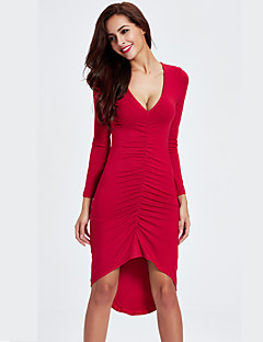 Women's Asymmetrical Casual/Daily Sexy Bodycon Dress,Solid Deep V Asymmetrical Long Sleeve Polyester Fall Mid Rise Stretchy Medium