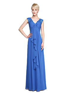 Sheath / Column V-neck Floor Length Chiffon Bridesmaid Dress with Appliques Criss Cross Ruching by LAN TING BRIDE®