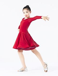 Danse latine Robes Enfant Spectacle Elasthanne Polyester Volants 1 Pièce Manche longue Taille moyenne Robe