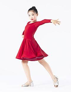 Dança Latina Vestidos Crianças Actuação Elastano Poliéster Frufru 1 Peça Manga Comprida Natural Vestido