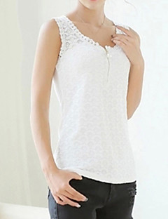 Women's Lace Casual/Daily Sexy All Seasons Tanks,Jacquard Round Neck Sleeveless White/Black Cotton/Rayon Thin