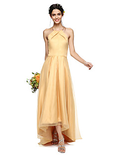 cheap Bridesmaid Dresses-A-Line Halter Asymmetrical Organza Satin Bridesmaid Dress with Pleats by LAN TING BRIDE®