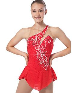 Eiskunstlaufkleid Damen Mädchen Eiskunstlaufkleider Rot Elastan Hochelastisch Patchwork Klassisch Sexy Leistung Training Freizeit Sport